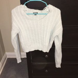 light blue cropped fuzzy sweater